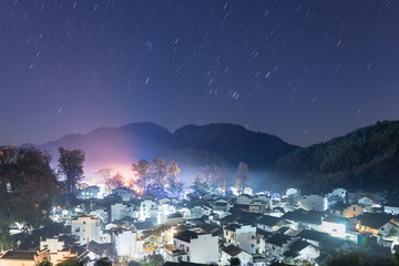 shicheng village at night with star trails