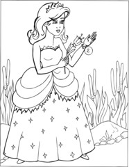 Fashion parade. Coloring the Beautiful Princess. Vector illustration. Coloring  book, lady, girl 2