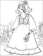 Fashion parade. Coloring the Beautiful Princess. Vector illustration. Coloring  book, lady, girl 3