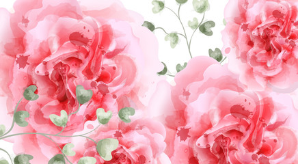 Pink roses watercolor background Vector. Top view. Invitation card, wedding ceremony, delicate postcard, Women day greeting card. Beautiful colors