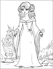 Fashion parade. Coloring the Beautiful Princess. Vector illustration. Coloring  book, lady, girl 9