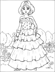 Fashion parade. Coloring the Beautiful Princess. Vector illustration. Coloring  book, lady, girl8