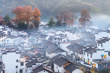 shicheng village landscape in late autumn early morning