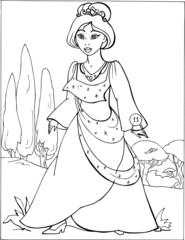 Fashion parade. Coloring the Beautiful Princess. Vector illustration. Coloring  book, lady, girl 11