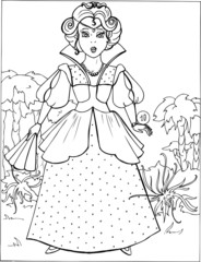 Fashion parade. Coloring the Beautiful Princess. Vector illustration. Coloring  book, lady, girl 10