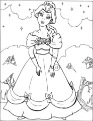 Fashion parade. Coloring the Beautiful Princess. Vector illustration. Coloring  book, lady, girl 15