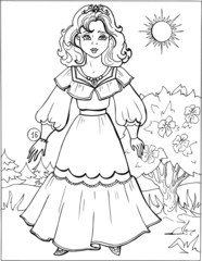 Fashion parade. Coloring the Beautiful Princess. Vector illustration. Coloring  book, lady, girl 16