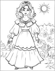 Fashion parade. Coloring the Beautiful Princess. Vector illustration. Coloring  book, lady, girl 16