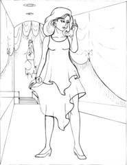 Fashion parade. Coloring the Beautiful Princess. Vector illustration. Coloring  book, lady, girl 17
