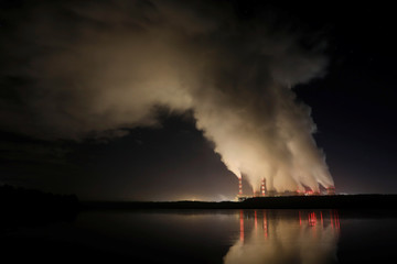 Smoke and steam billows from Belchatow Power Station
