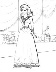 Fashion parade. Coloring the Beautiful Princess. Vector illustration. Coloring  book, lady, girl 22