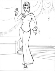 Fashion parade. Coloring the Beautiful Princess. Vector illustration. Coloring  book, lady, girl 23