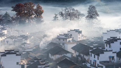 shicheng village landscape in early morning