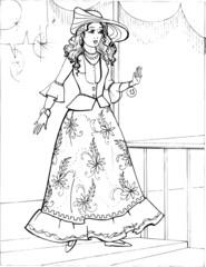 Fashion parade. Coloring the Beautiful Princess. Vector illustration. Coloring  book, lady, girl 29