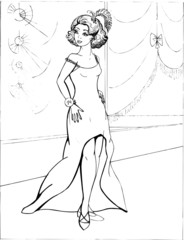 Fashion parade. Coloring the Beautiful Princess. Vector illustration. Coloring  book, lady, girl 30