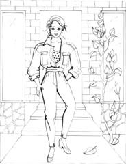 Fashion parade. Coloring the Beautiful Princess. Vector illustration. Coloring  book, lady, girl 37