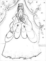 Fashion parade. Coloring the Beautiful Princess. Vector illustration. Coloring  book, lady, girl 38