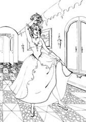 Fashion parade. Coloring the Beautiful Princess. Vector illustration. Coloring  book, lady, girl 39