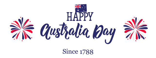 Banner for Australia day celebration. Since 1788. for the graphic design. vector graphics illustration.