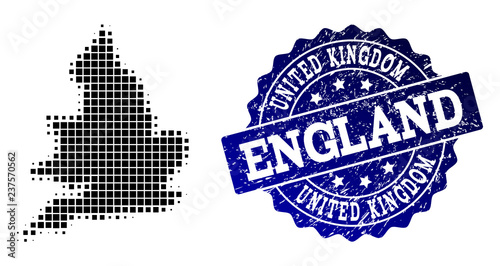 Geographic Map Of England.Geographic Collage Of Dot Map Of England And Blue Grunge Seal