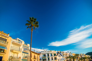 Spanish Beach Resort in Barcelona, Spain. Sitges area is known as a beach resort town.