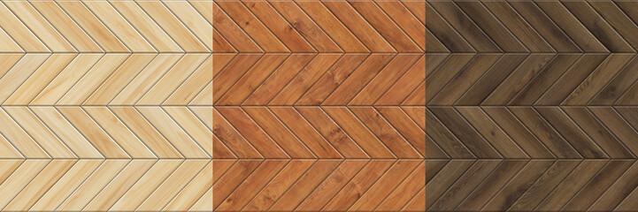 Obraz Set of high resolution seamless textures of wooden parquet. Chevron patterns - fototapety do salonu