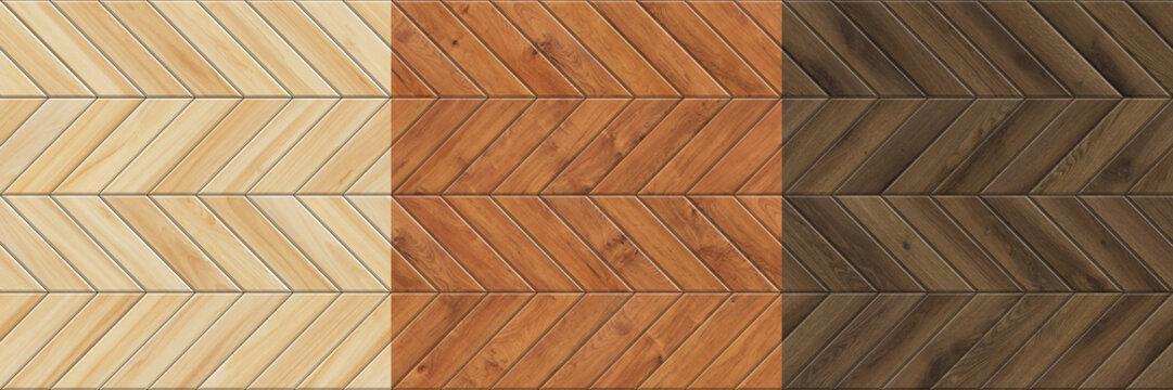 Set of high resolution seamless textures of wooden parquet. Chevron patterns