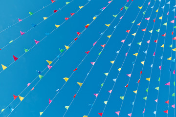 Waving colourful flags