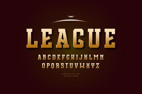 Golden colored slab serif font