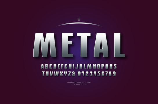 Silver colored and metal chrome geometric sans serif font