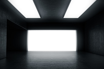 Empty dark abstract concrete room with the gate and glowing light. Interior concept background. 3d illustration