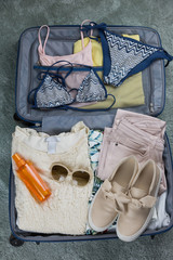 packed clothes for summer holiday