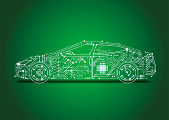 autonomous driving with e-car - circuit board