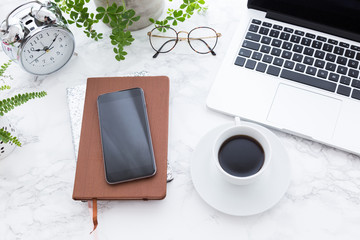 Notebook Smartphone Laptop And Coffee Cup On Table