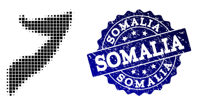 Geographic composition of dot map of Somalia and blue grunge seal watermark. Halftone vector map of Somalia created with rectangle points. Flat design for cartographic purposes.