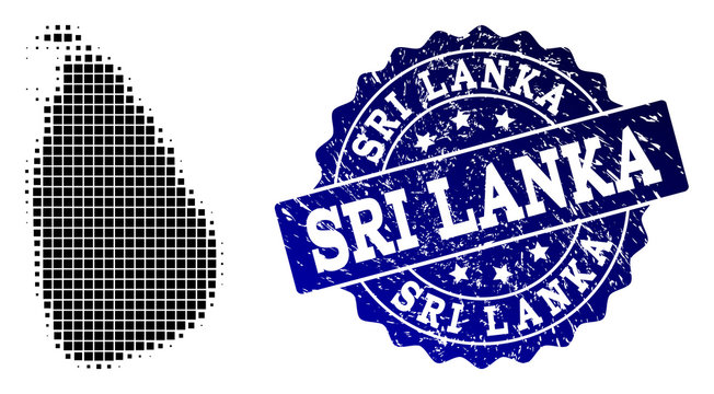 Geographic combination of dot map of Sri Lanka and blue grunge seal imprint. Halftone vector map of Sri Lanka designed with rectangular dots. Flat design for political posters.