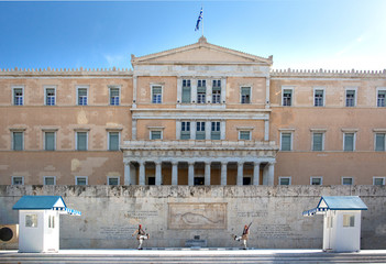 Athens, Greece - October 17, 2018: Change of Guard Ceremony in front of the Hellenic Parliament Building on Syntagma Square by the Evzones or Evzoni soldiers - elite military.