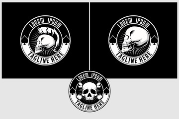 punk skull head black and white vector logo template collection