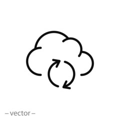 backup, cloud with arrows rotation, vector icon