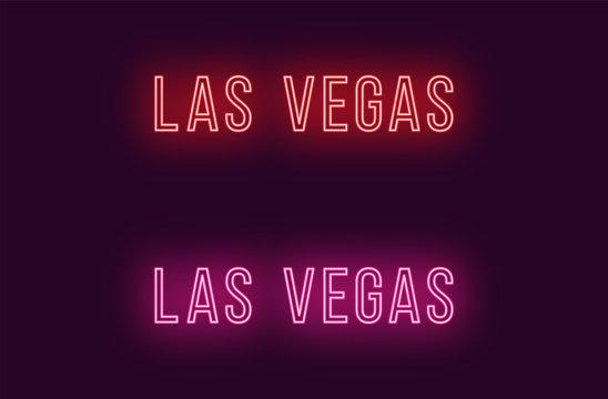 Neon name of Las Vegas city in USA. Vector text