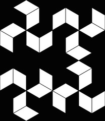 Black and white cube seamless pattern