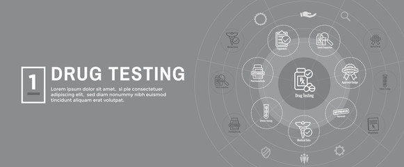 Drug Testing and Process Web Header Banner w Icon Set