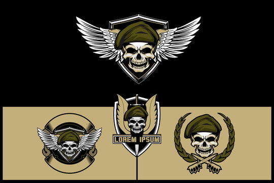 military theme skull wearing beret with wing and knife vector logo template collection.