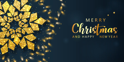 Merry Christmas and Happy New Year poster with gold snowflake and decorative lanterns.