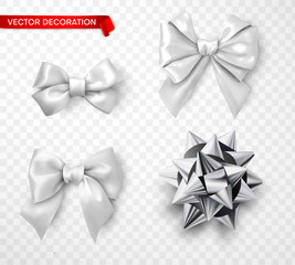 Set of white and silver satin 3d bows isolated on transparent background.