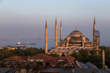 The stunning Blu Mosque in Istanbul at sunset