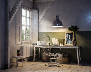 Arbeitsplatz naturnah mit Holztisch und Fenster