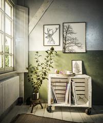 Natürliches Zimmer mit Fenster und kleiner Kommode