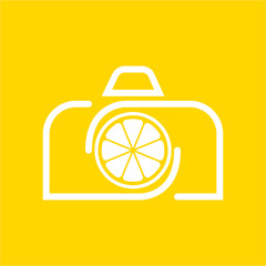 Vector Camera Lemon logo design template and support icon modern. White color.