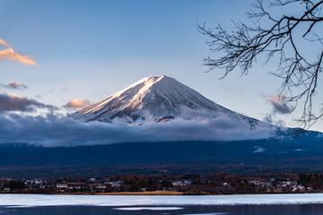 close up mount fuji from lake kawaguchi side, Mt Fuji view from the lake